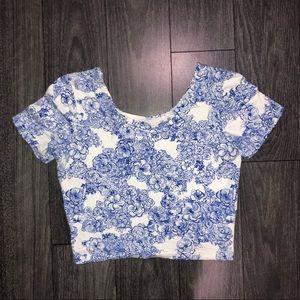 American apparel floral crop top